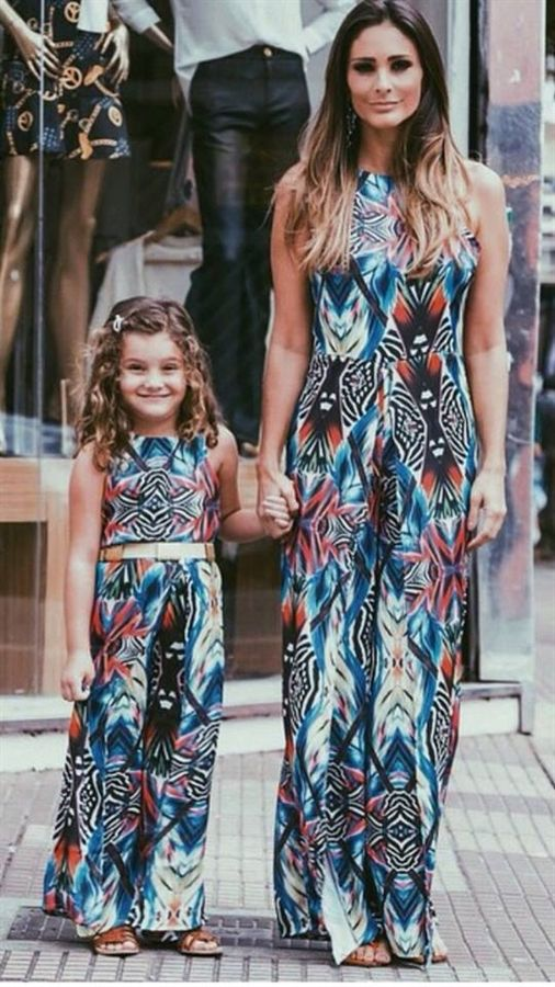 2017 Family Bohemia Dress Mother And Daughter Girls Maxi
