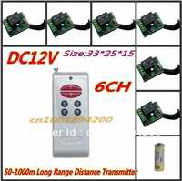 RF Wireless remote control system 1 (controller)transmitter +6 receiver(switch)12V 10A 315MHZ-433MHZ