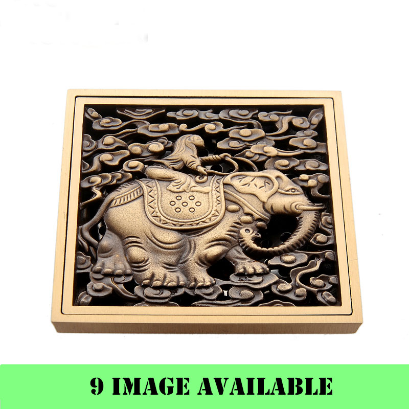 Antique Brass Animal Carved Art Drain Bathroom Shower Waste Drainer Square Floor With Hair Strainer Accessory