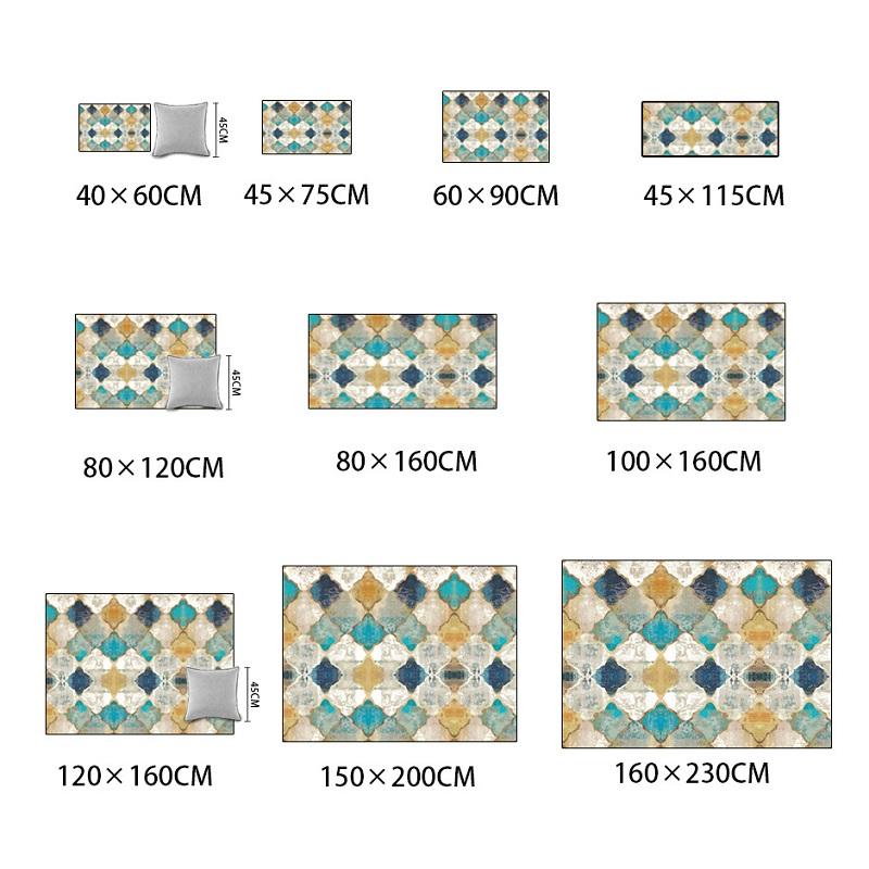 Vintage American geometry Moroccan ethnic style rug bedroom bedside mat living room crystal velvet carpet customize plush rug in Mat from Home Garden