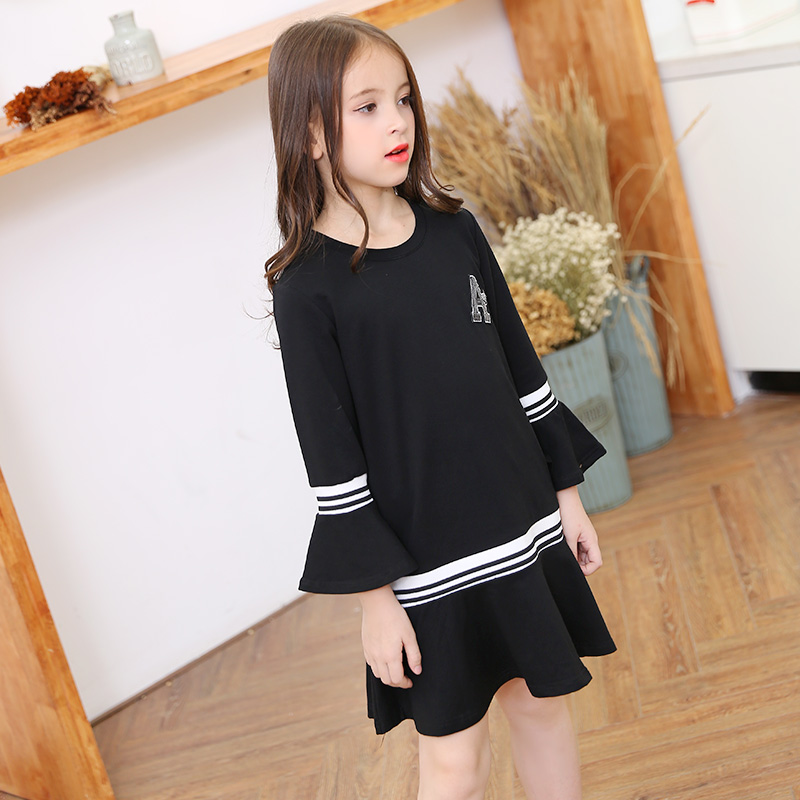 Teenager Girls Long Sleeves Dress Spring Autumn Children Pagoda Sleeve Dress Splice Style Casual Kids Teen Girl Dresses 6-16 Yrs girl children floral blouse shirt spring autumn long sleeve doll collar girls thin chiffon blouses tops for teen 13 14 15y fb300