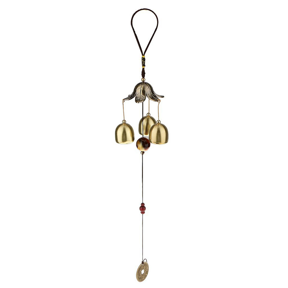 Bronze big metal bells wind chime feng shui outdoor garden for Outdoor hanging ornaments