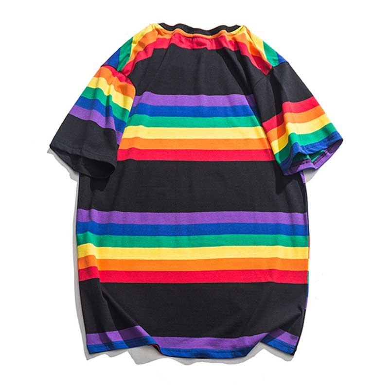 Aolamegs T Shirt Men Multicolor Stripe Harajuku Printed Men 39 s Tee Shirts Short Sleeve T Shirt Simple College Style Tees Summer in T Shirts from Men 39 s Clothing