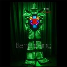 TC-130 RGB robot stilts dance LED costumes Full color colorful light clothes mens wears ballroom led programming mens  dj helmet