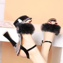 Women Sandals High Heels Summer Shoes Fashion Fur Chunky Heel Ladies Platform Wedges Sandals Pumps Buckle Strap Party Shoes 14CM
