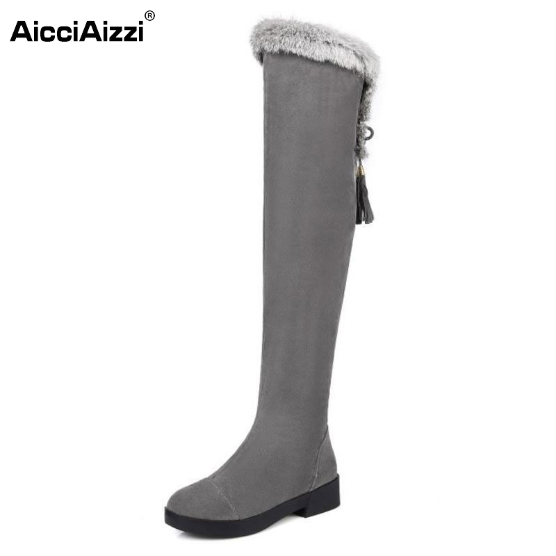 Women Round Toe Flat Over Knee Boots Woman Suede Leather Cross Strap Long Botas Warm Fur Winter Shoes Woman Size 34-43 women boot high quality russia warm thick fur snow boots round toe winter flat shoes woman keep warm knee botas size 34 39