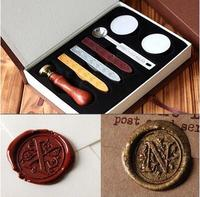 Vintage Wood Alphabet Badge Seal Stamp Wax Kit Set Craft Ink Pad Sealing Wax Spoon Wedding