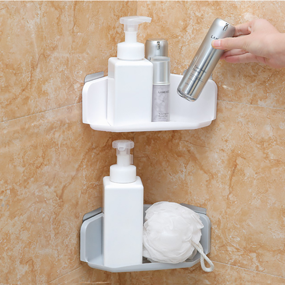 Plastic Suction Cup Bathroom Kitchen Corner Storage Rack