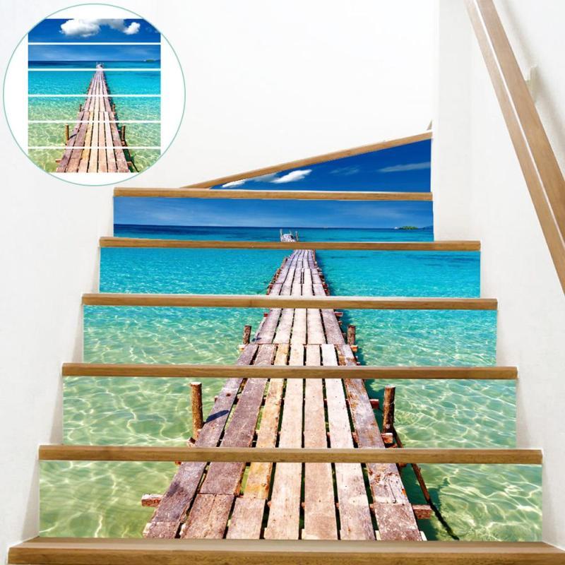 6 шт./компл. 3D лестница Наклейки Beach Pier пейзаж обои DIY съемный виниловые наклейки росписи Книги по искусству дома Гостиная украшения