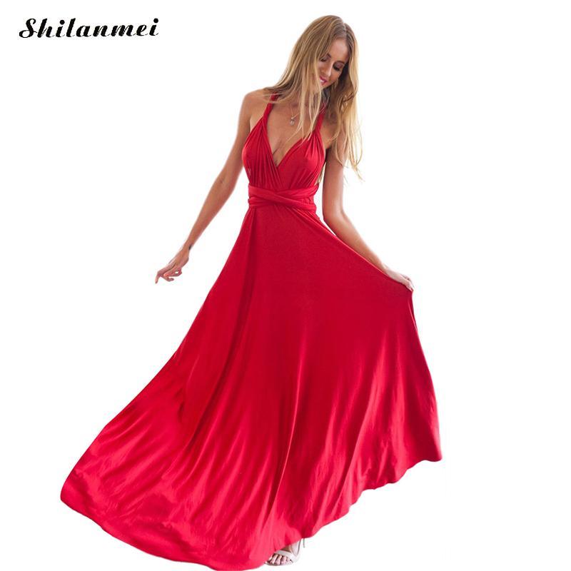 Vestido atractivo del verano de las mujeres playa roja largo vendaje Multiway convertible vestidos Infinity Wrap Robe Boho Maxi vestido Wrap Vestido 2018