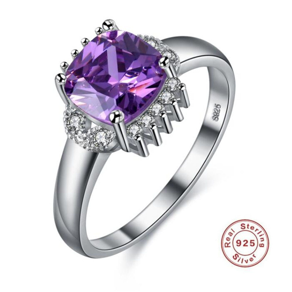 925 Pure Silver Engagement Ring S925 Stamp Square Purple
