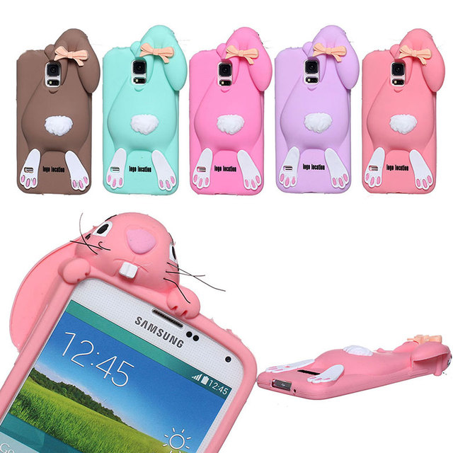 watch 3391a 23c54 US $2.73 16% OFF|HOT Sales Cute lovely Rabbit Silicone rubber Case For  Samsung Galaxy S5 I9600 G900 G900F protector Skin shell Back Cover-in  Fitted ...