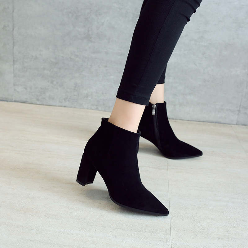 RYVBA Women suede Genuine leather pointed toe Ankle boots womens Autumn winter boots 2018 Woman fashion square high heels shoes 9