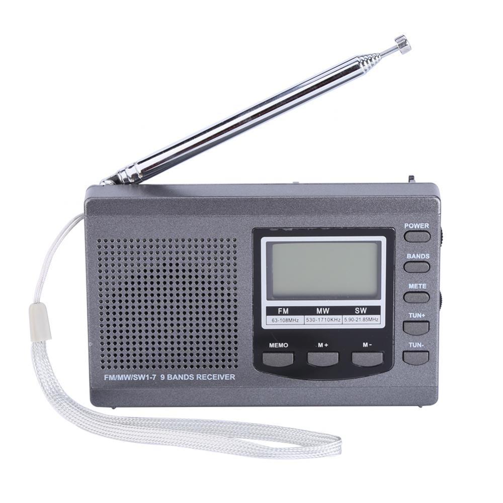 VBESTLIFE Portable Mini Radios FM/MW/SW Receiver w/ Digital Alarm Clock FM Radio Receiver Grey and Black Opitonal Free Shipping