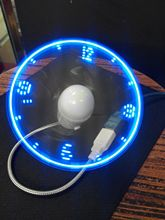 Blue New Durable Adjustable USB Gadget Mini Flexible LED Light USB Fan Time Clock Desktop Clock