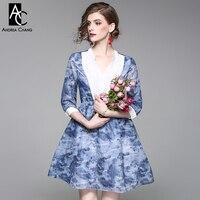 Vestido de mulher primavera outono colarinho branco peito rendas patchwork azul vestido estampado vestido de baile do império cintura moda azul bonito mini vestido