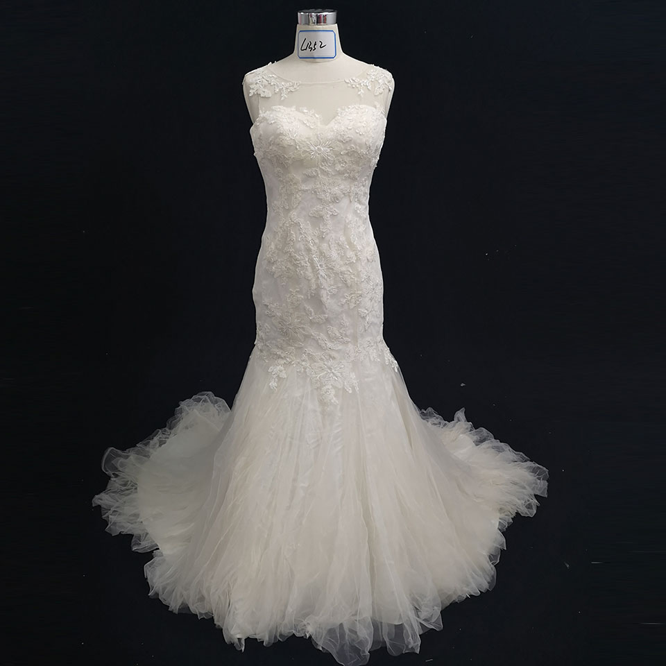 Vintage Wedding Dresses 2019: Light Champagne Mermaid Wedding Dresses 2019 Vestido De