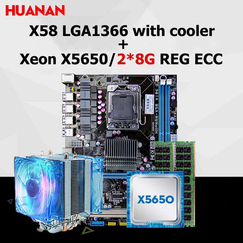 Brand HUANAN X58 motherboard CPU RAM combos with cooler USB3.0 X58 LGA1366 CPU Xeon X5650 RAM 16G(2*8G) DDR3 REG ECC all tested mini itx motherboard nm70 chipset celeron 1037u cpu mainboard with onboard 2gb ram 2 coms