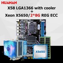HUANAN X58 carte mère CPU RAM combos avec refroidisseur USB3.0 X58 LGA1366 carte mère CPU Intel Xeon X5650 RAM 16G (2*8G) DDR3 REG ECC