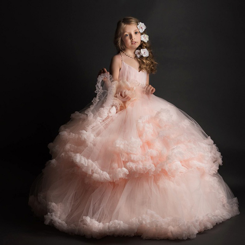 New Pink Puffy Flower Girl Dresses Ball Gown V-Neck Ruffles Sleeveless First Communion Pageant Gown Custom made Vestidos v neck tank top with ruched ruffles