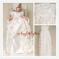 Vintage Ivory Satin silk lace Baby girl Christening Gowns Newborn formal Baptism Robe Long dress With Bonnet