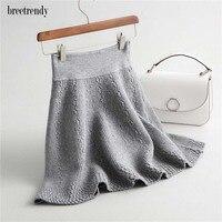 J116 Ladies Classic Gray Black Color Elastic Relief Pattern Knitting Skirt Women A Line Mini Skirts Winter Sweater saias
