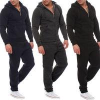 Mens Jogging Tracksuit Sports Gym Hooded Sweat Suit Athletic Clothes Coat Pants