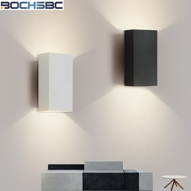 Nordic Simple LED Wall Lamp Wall Mounted Stairs Wall Light Modern Wall Sconce Lustre Rectangle Bedroom Bedside Light Black White led outdoor wall sconce wall mounted lamp garden porch light bedside lamp balcony sconce aisle light vintage wall sconces