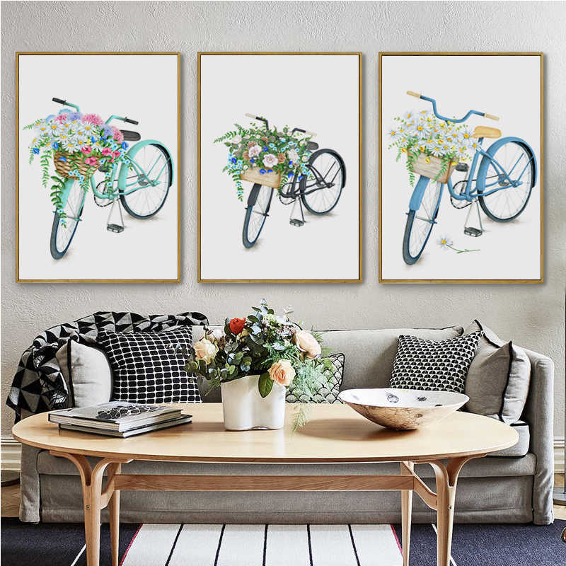 07G Watercolor Flower Basket Bike A4 A3 A2 Canvas Art Painting Print Poster Picture Wall flower shop Living Room Home Decoration