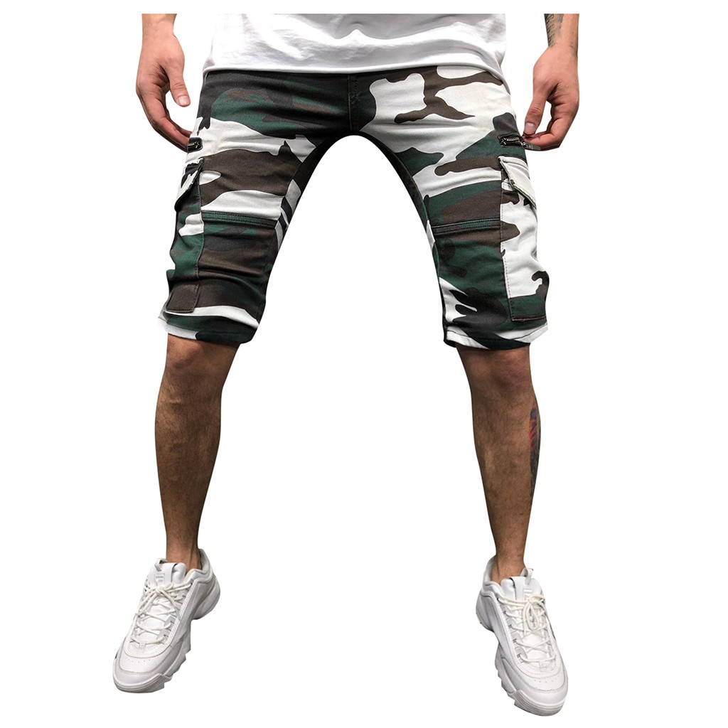Fashsiualy Bermuda Masculina 4XL Fashion Men's Sport Camouflage Lashing Belts Casual Loose Sweatpants Drawstring Short Homme