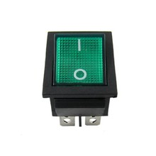 Green Light 4 Pin DPST ON/OFF Snap In Rocker Switch 15A 30A 250V AC 28x21mm(China)