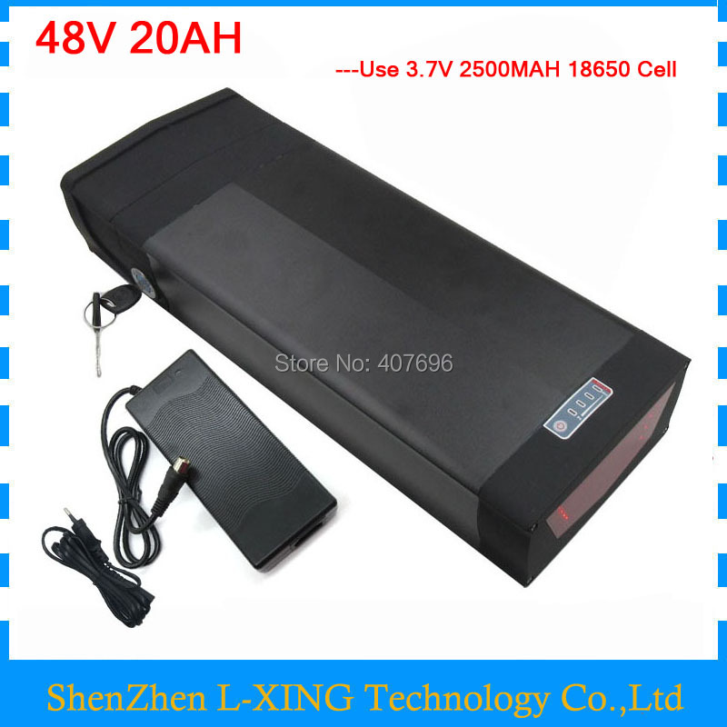 1000W 48V 20AH Lithium electric bike battery 48V rear rack battery with tail light and USB Port 30A BMS 54.6V 2A Charger 1000W 48V 20AH Lithium electric bike battery 48V rear rack battery with tail light and USB Port 30A BMS 54.6V 2A Charger