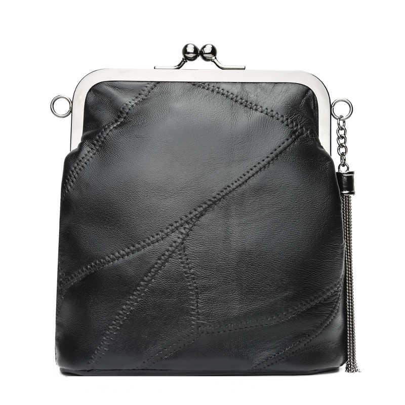 96951fae4e ... Cuir véritable dame sacs Rivet cadre Messenger s dame embrayage sac à main  sacs à main ...