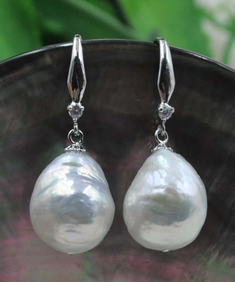 b3c5e538e39a 11-12mm Similar Baroque drop thick natural furrow pearl earring rare  jewellry