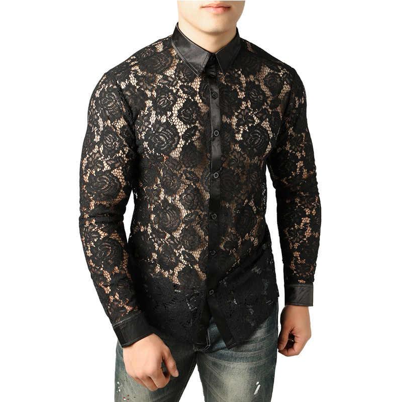 981a847e78d1a6a Бренд черная рубашка Для мужчин Chemise Homme Сексуальная See Through  причудливый цветок вышивка кружево Для мужчин
