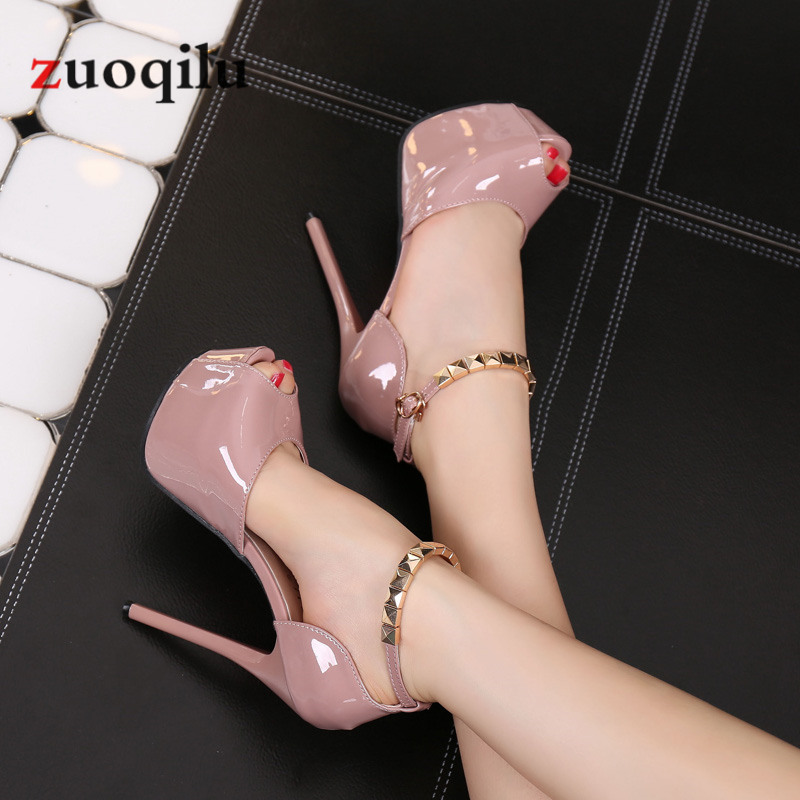 Peep Toe Platform High Heels Pumps Women Shoes 2019 Women Heels Sandals Wedding Shoes Sandalia Feminina 14 CM Heels