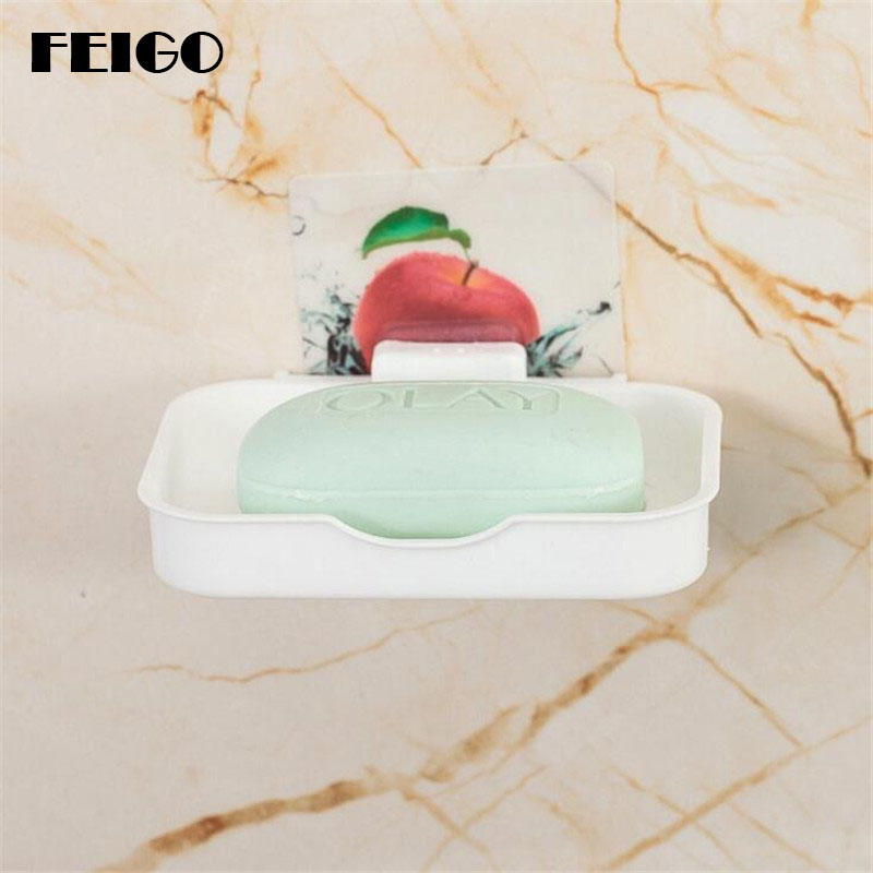 FEIGO Sucker Holder Sturdy Soap Holder/Soap Box/Soap Dish/Soap Case Modern Bathroom Accessorie Kitchen Sink Drain Storage F27