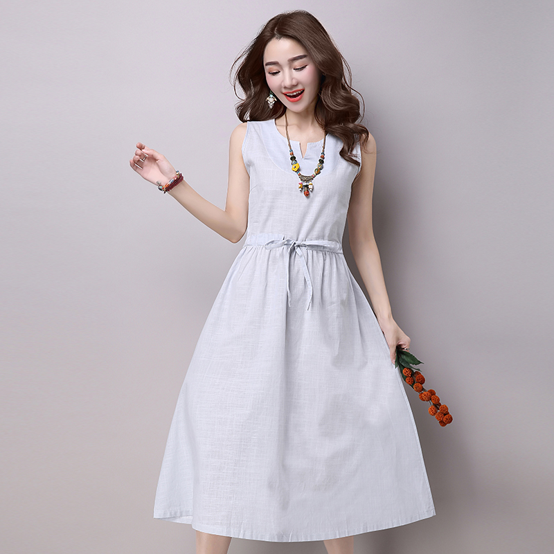 New Summer dress Ethnic Cotton Linen dresses women Solid Casual Loose Sleeveless Plus size YL530