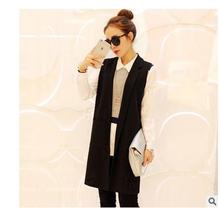 Black/Wine Red Womens Sleeveless Jacket Long Section V Neck Spring And Autumn Open Stitch  Fashion Waistcoats Vest Coats J1654-6