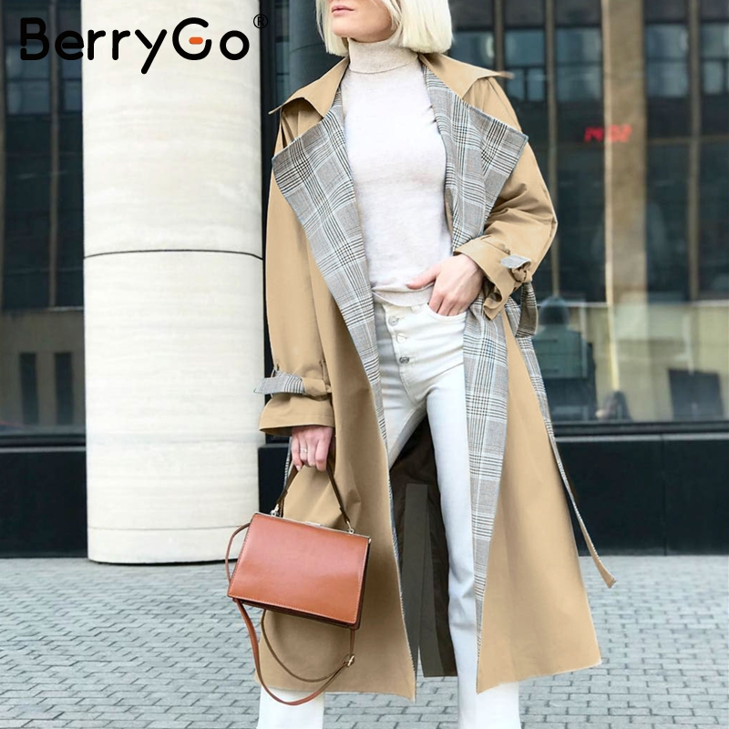 BerryGo Turn down collar women trench coat Vintage sashes plaid autumn winter long outwear Belt pockets office ladies overcoats 2