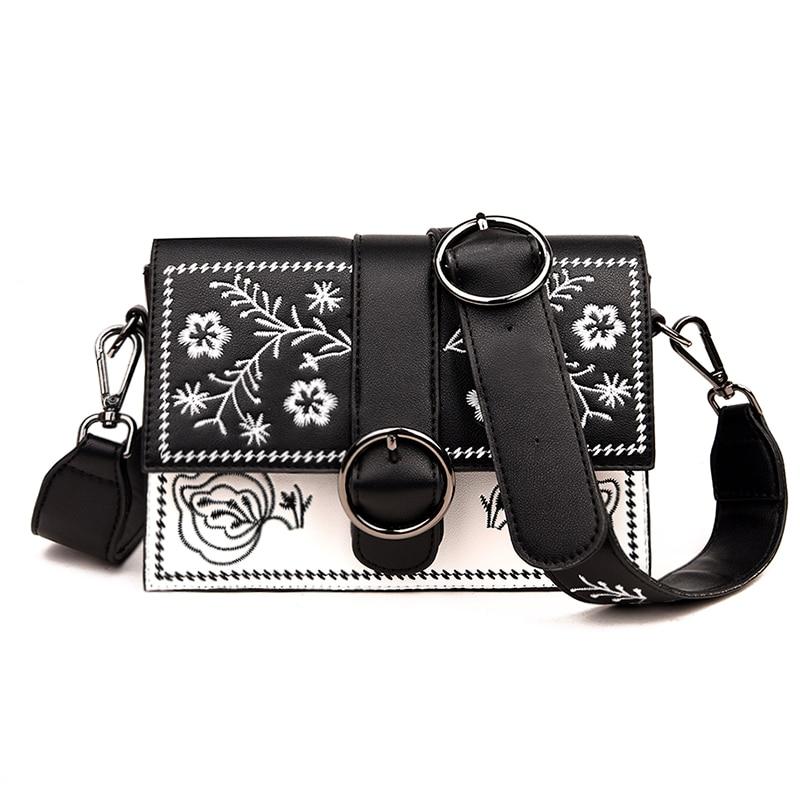 Brand Women Bag Chain Shoulder Bag Fashion Female Flower PU Leather Crossbody Bag Embroidery Women's Messenger Bag For Girls 351 5