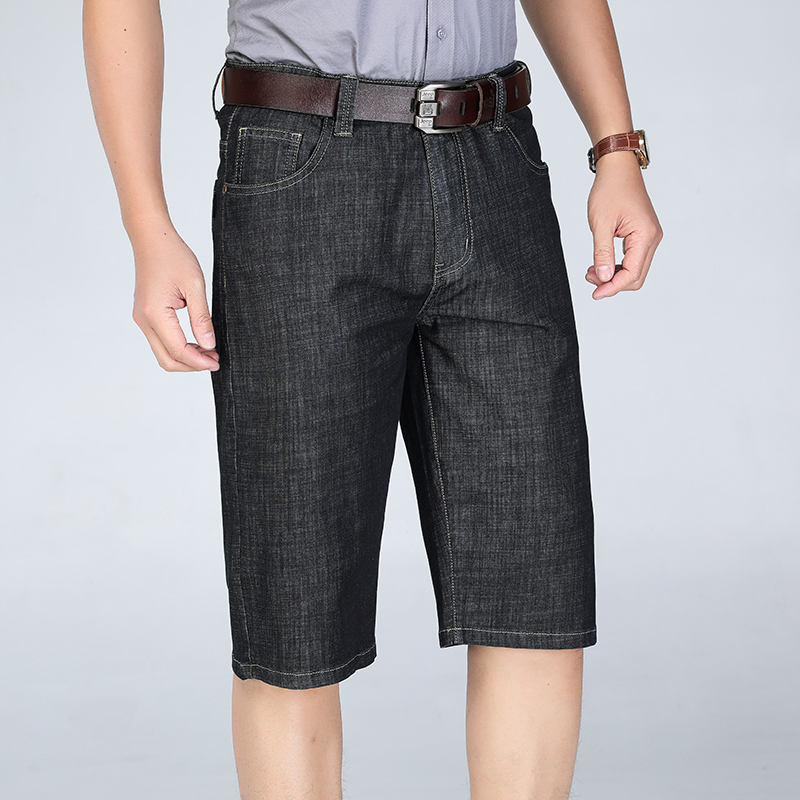 Jeans Shorts Business Black Big-Size Summer Casual Blue New Thin 46 44 40-42 Stretch