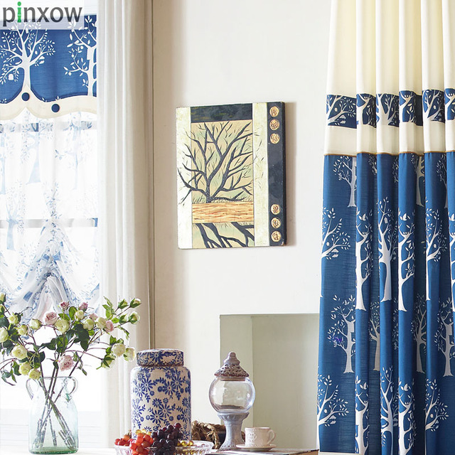 Blue Rustic Bedroom Window Panels Luxury Blackout Fabric Curtains For  Living Room Tree Home Sheer Curtain