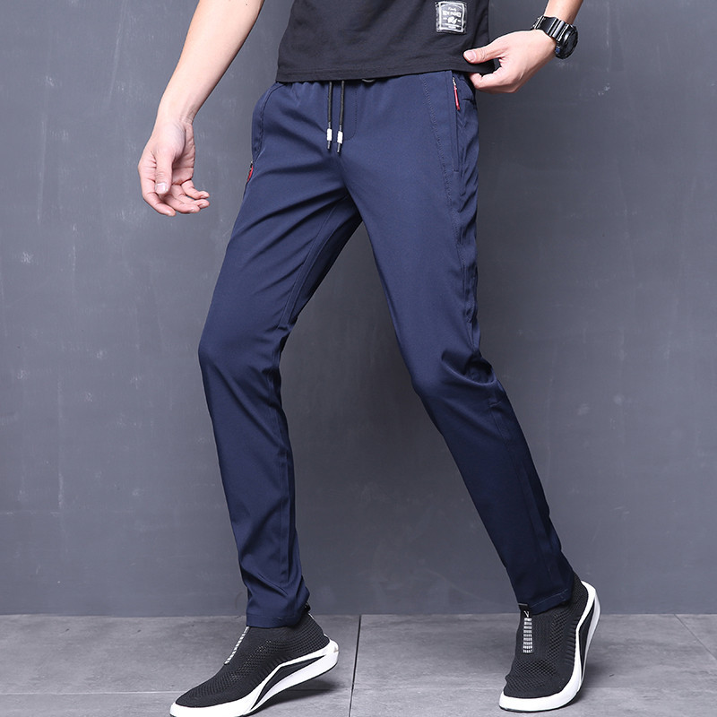 Summer Pants Mens Skinny Stretch Korean Casual Slacks Slim Fit Chino Elastic Waist Jogger Dress Trousers Male Black Blue