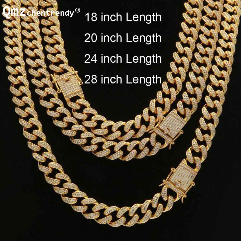 Hip hop Women Men Curb Cuban Chain Necklace Bling Iced Out Link Gold Silver Jewelry Micro Full CZ Box Clasp DropShipping