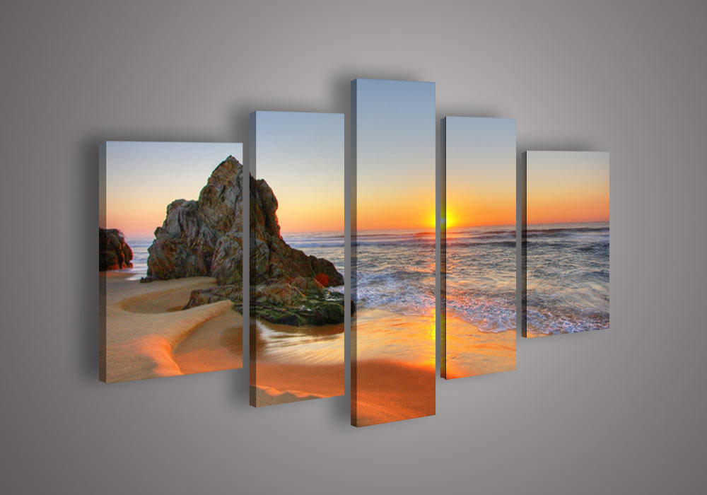 5 Panel Seascape Sunrise Oil Painting Modern Canvas Wall
