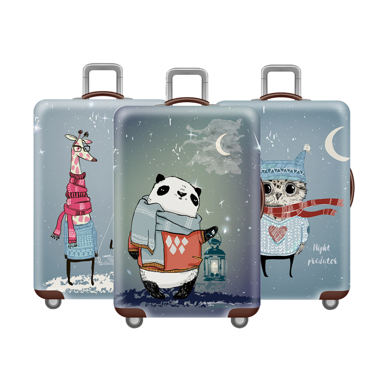 Owl Pattern Elastic Luggage Protective Cover Travel Trolley Baggage Thicker Dust Case Trip Suitcase Zip Bag Accessories Supplies