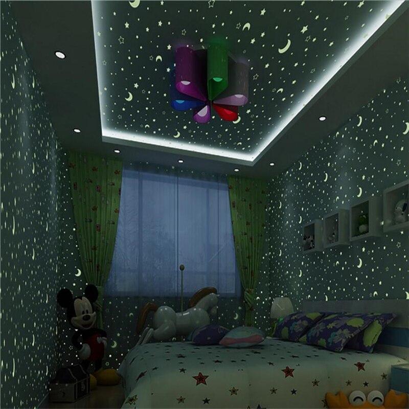 ФОТО beibehang Osson Long Fiber Nonwovens Wallpaper Moon Star Child Luminous Wallpaper papel de parede