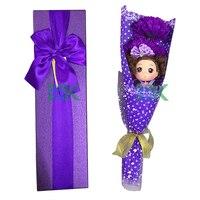 ロマンチックなバレンタイン誕生日ギフトホーム装飾花1ピース人形+ 3ピース泡石鹸人工花+ギフトボックス結婚式の装