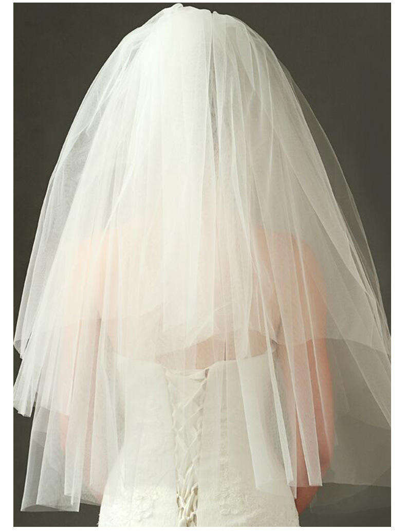 New Waist Length One Layer Wedding Bridal Veils Ivory Cut Edge Net with Comb